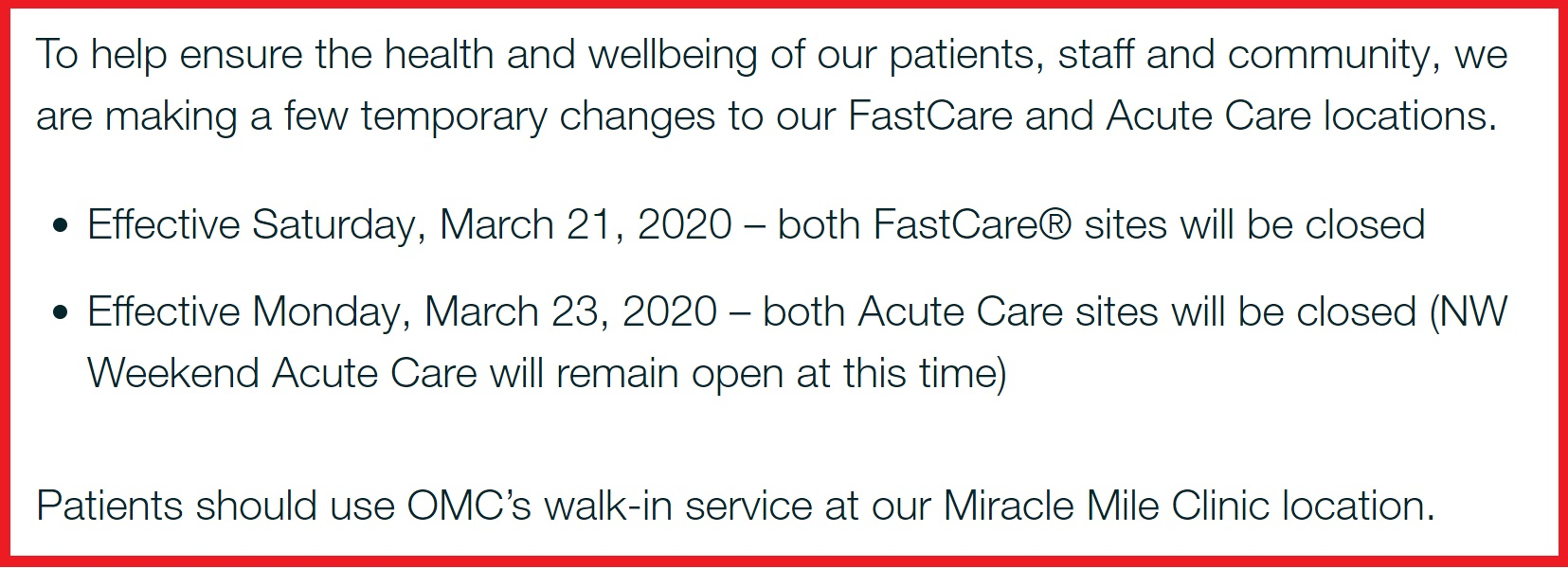 Announcement about FastCare and Acute Care during COVID-19