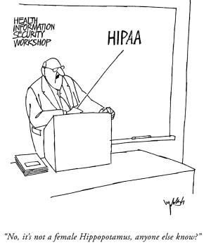 "HIPAA Cartoon Image - ""HIPAA is not a female hippopotamus."""