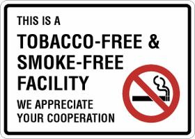 Tobacco-free facility sign